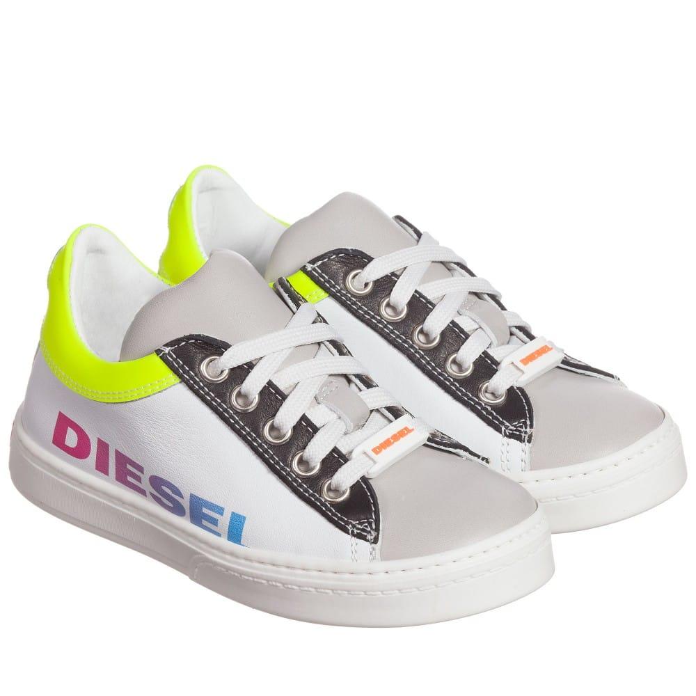 DIESEL KIDS Unisex White Leather Logo