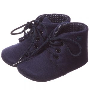 DIOR Boys Navy Blue Leather Pre-Walker Shoes 1