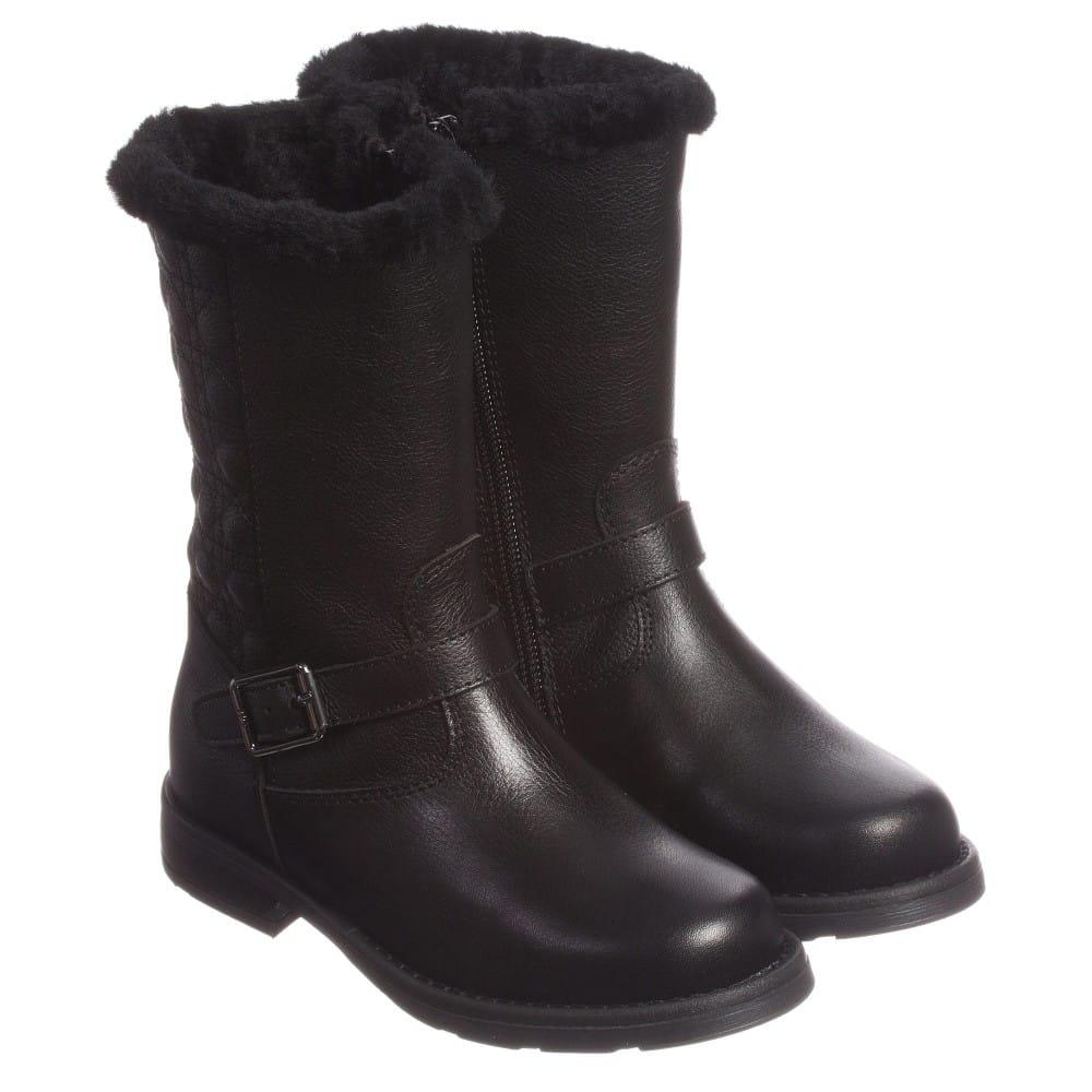 DIOR Girls Black Leather Biker Boots