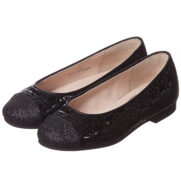 DIOR Girls Black Patent Leather 'Cannage' Shoes