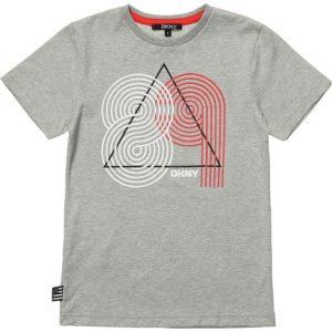 DKNY Boys Grey Cotton Jersey Logo T-Shirt