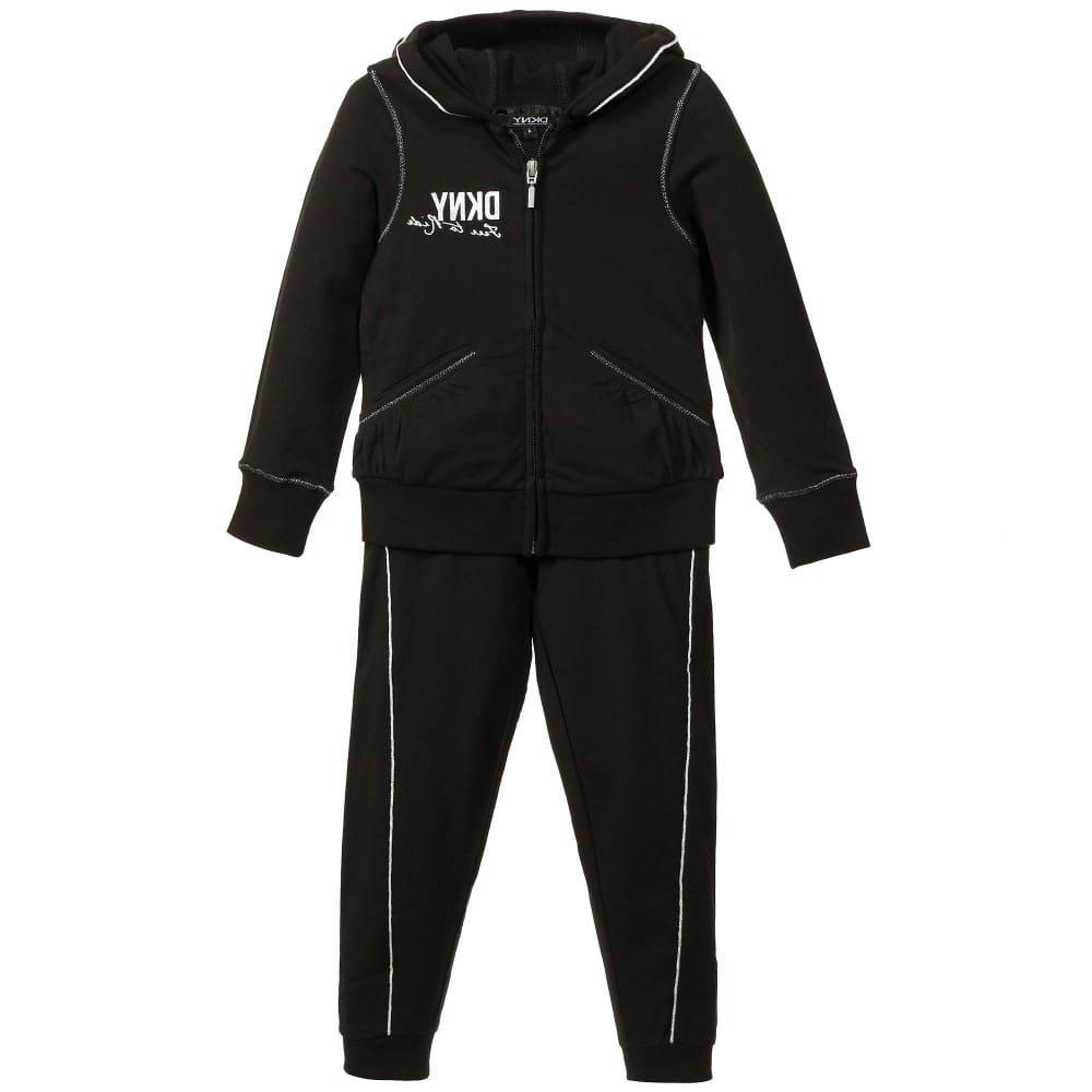 392dc50f2421 DKNY Girls Black Jersey Fleece Tracksuit
