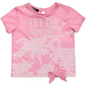 DKNY Pink Viscose Jersey 'Let The Sunshine' T-Shirt