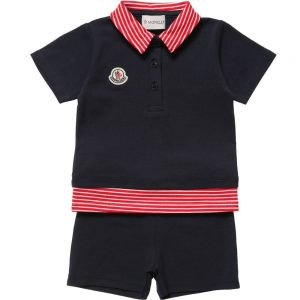 MONCLER Baby Boys Navy Blue Polo T-Shirt & Shorts1