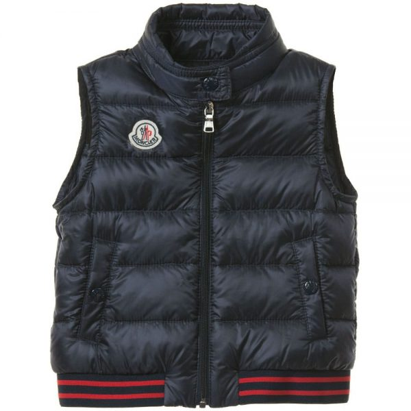 MONCLER Baby Boys Navy Blue 'Titouan' Down Padded Gilet2