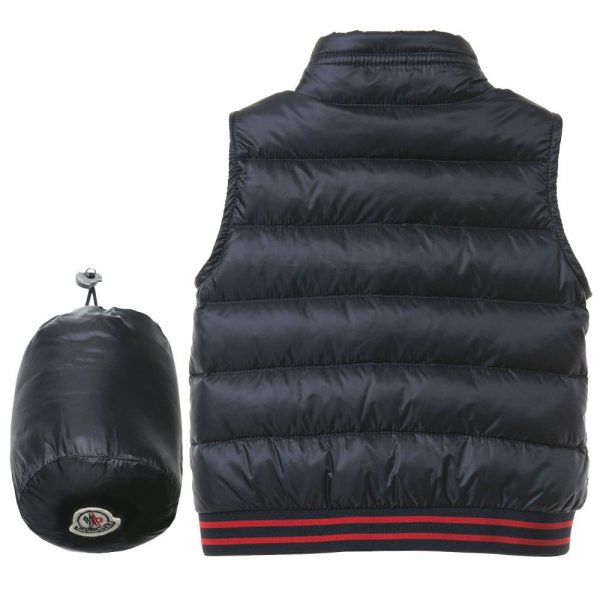 MONCLER Baby Boys Navy Blue 'Titouan' Down Padded Gilet3