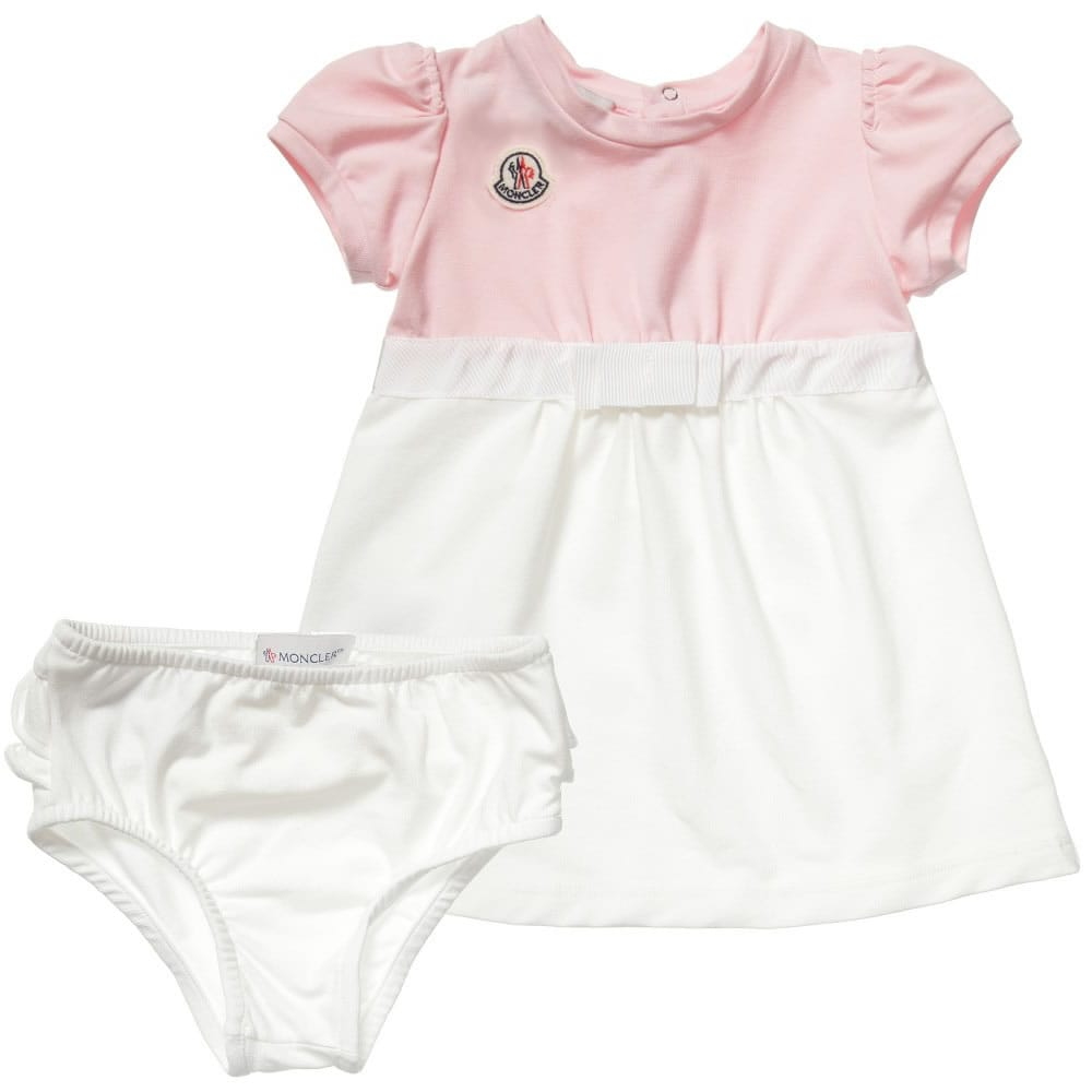6b690178a MONCLER Baby Girls Pink Cotton Dress with Knickers