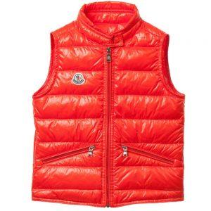 MONCLER Boys Orange 'Gui' Down Padded Gilet2