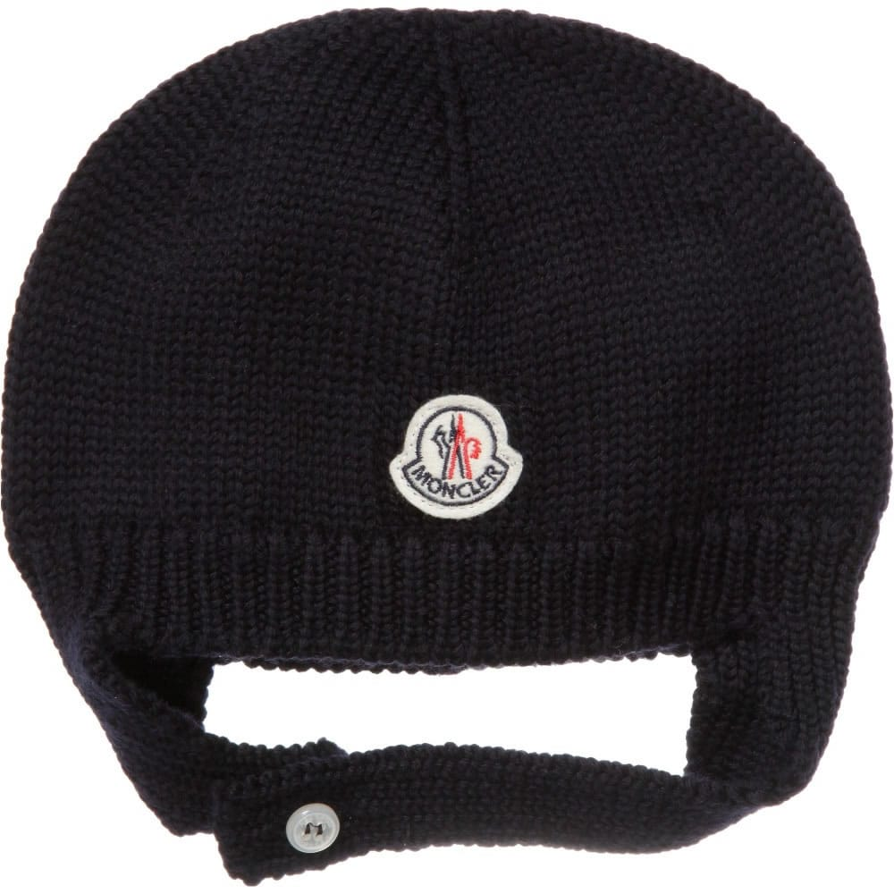 23d687a19 MONCLER Navy Blue Wool Baby Hat - Children Boutique