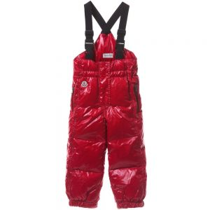 MONCLER Red Down Padded Salopettes
