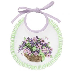 MONNALISA BEBE Lilac Floral Jersey Baby Bibs (Pack of 2)