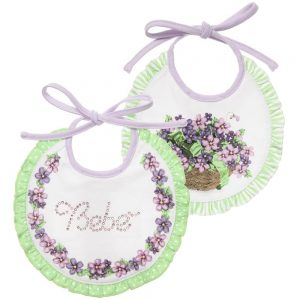 MONNALISA BEBE Lilac Floral Jersey Baby Bibs (Pack of 2)1
