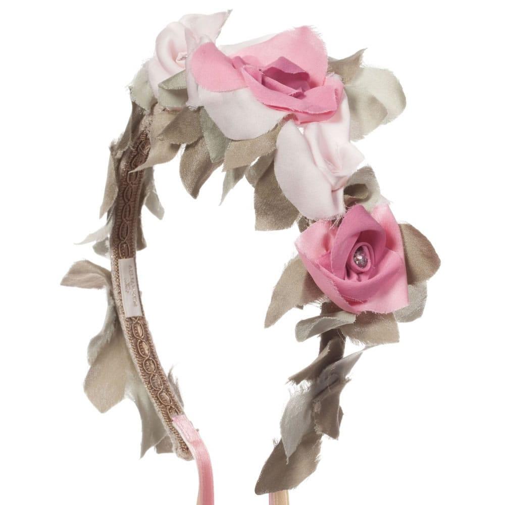 Monnalisa Chic Silk Floral Hairband With Ribbons