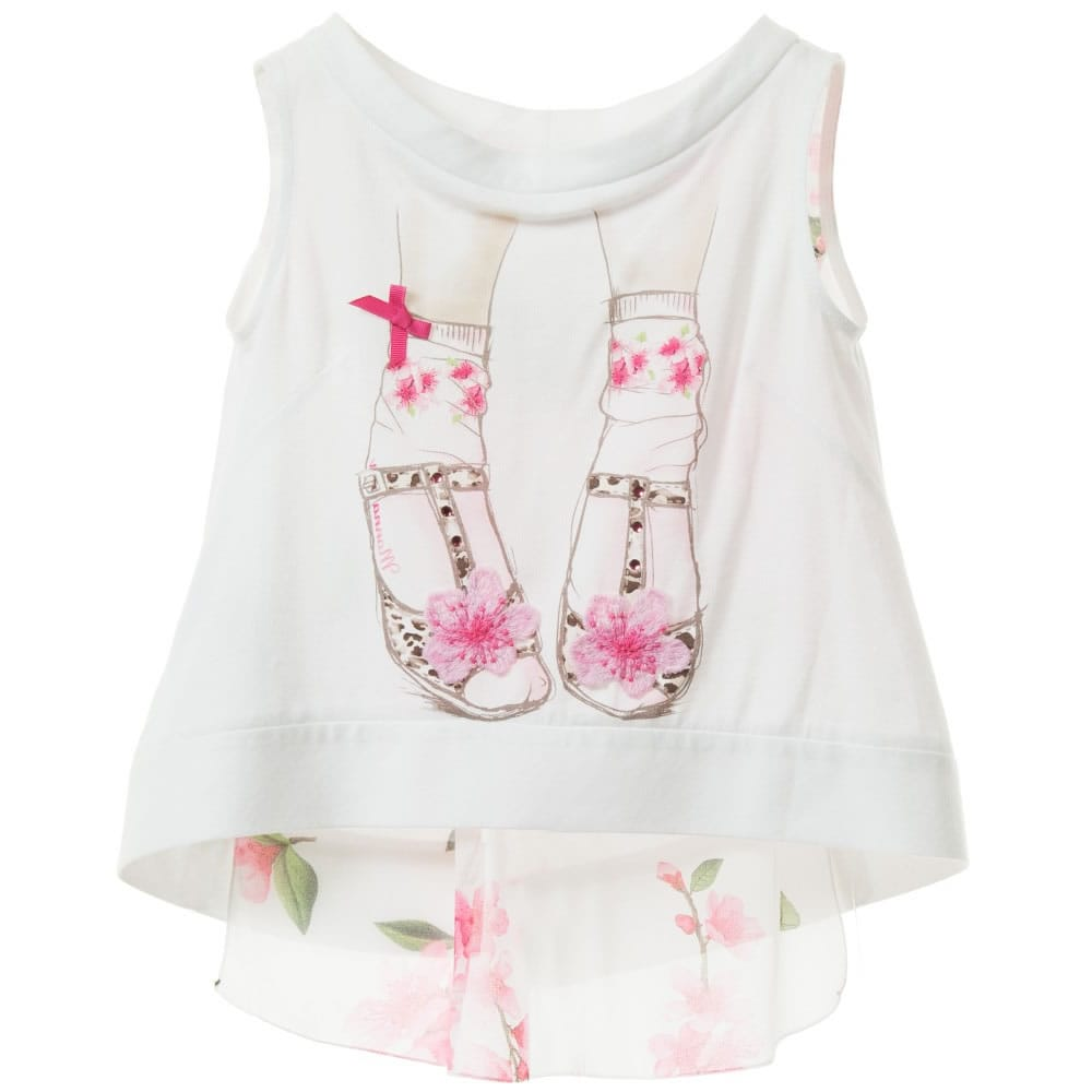 Monnalisa Shoe Print Top With Chiffon Back Children Boutique