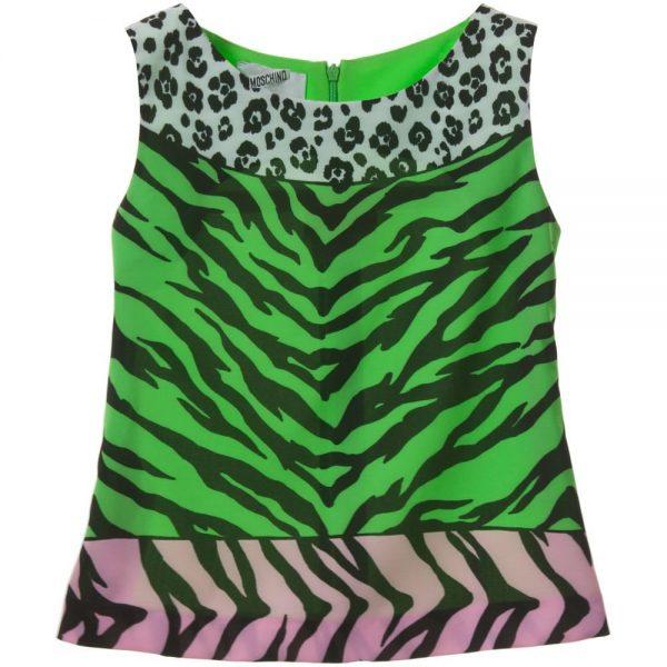 MOSCHINO KID-TEEN Leopard & Tiger Sleeveless Top1