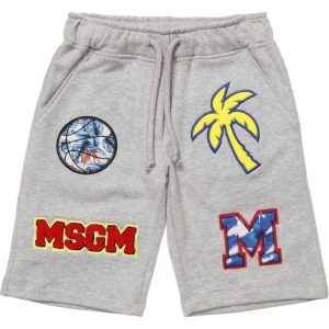 MSGM Boys Grey Cotton Jersey Shorts with Patches