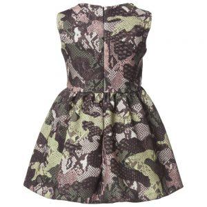 MSGM Green Camouflage Patchwork Python Dress1