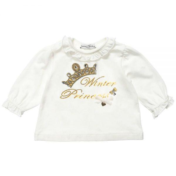 PAESAGGINO Baby Girls Ivory Cotton and Modal T-Shirt
