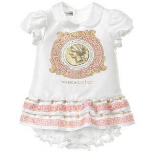 PAESAGGINO Baby Girls White Dress with Bloomers