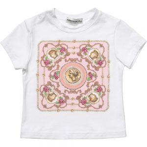 PAESAGGINO Baby Girls White T-Shirt with Pink Fret Print