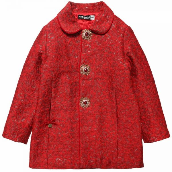 PAESAGGINO Girls Red Brocade Coat