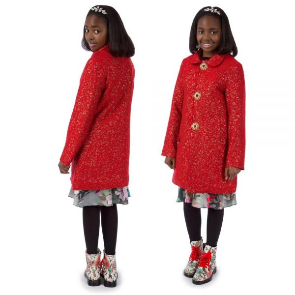 PAESAGGINO Girls Red Brocade Coat1