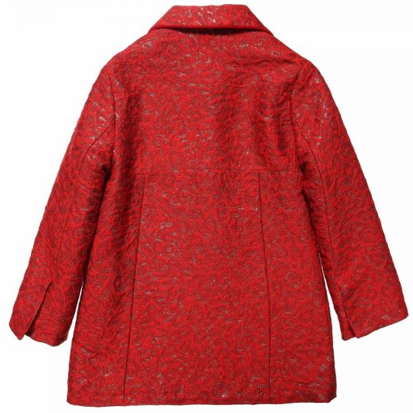 PAESAGGINO Girls Red Brocade Coat2