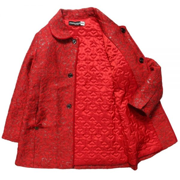 PAESAGGINO Girls Red Brocade Coat3