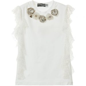 PAESAGGINO Girls White T-Shirt with Lace Embellishment