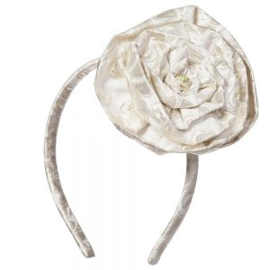PAESAGGINO Gold Brocade Hairband with Rose
