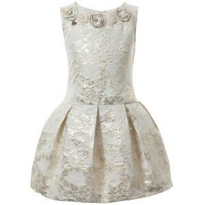 PAESAGGINO Gold Brocade Sleeveless Dress