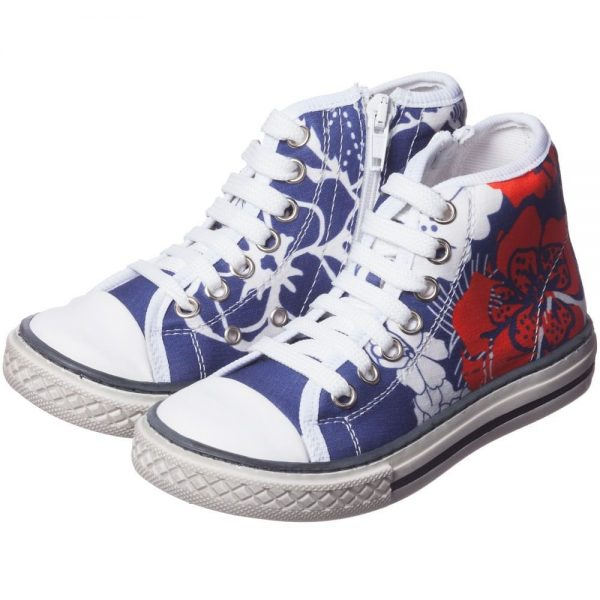 PARROT Girls Blue Printed High-Top Trainers