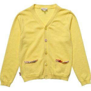 PAUL SMITH JUNIOR Girls Yellow Knitted 'Halix' Cardigan