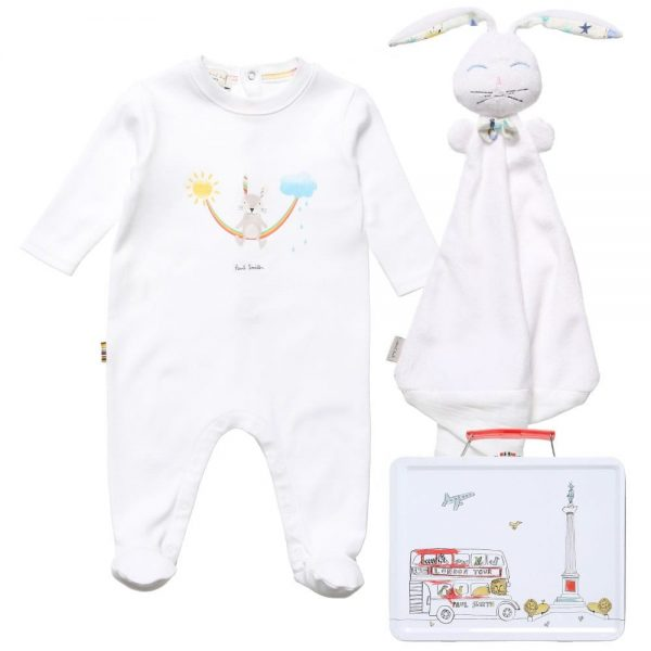 PAUL SMITH JUNIOR White Cotton Babygrow & Dou Dou In A Gift Tin