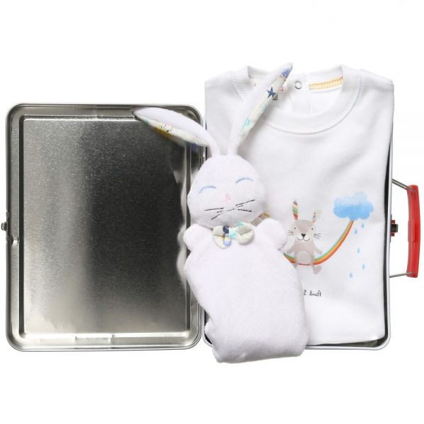 PAUL SMITH JUNIOR White Cotton Babygrow & Dou Dou In A Gift Tin2