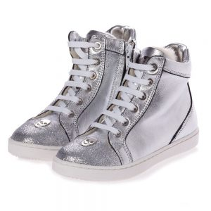 PHILIPP PLEIN Silver Leather High-Top Trainers