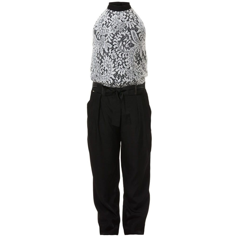 Pinko Black Satin White Lace Jumpsuit Children Boutique