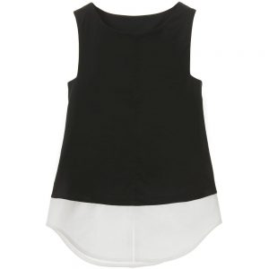 DONDUP Girls Black Cotton Jersey & Silk Top