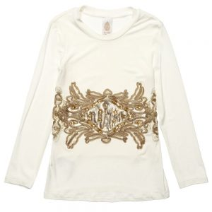 DONDUP Ivory Modal Girls Long Sleeved T-Shirt