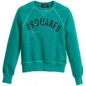 DSQUARED2 Boys Green Paint Distressed Sweater