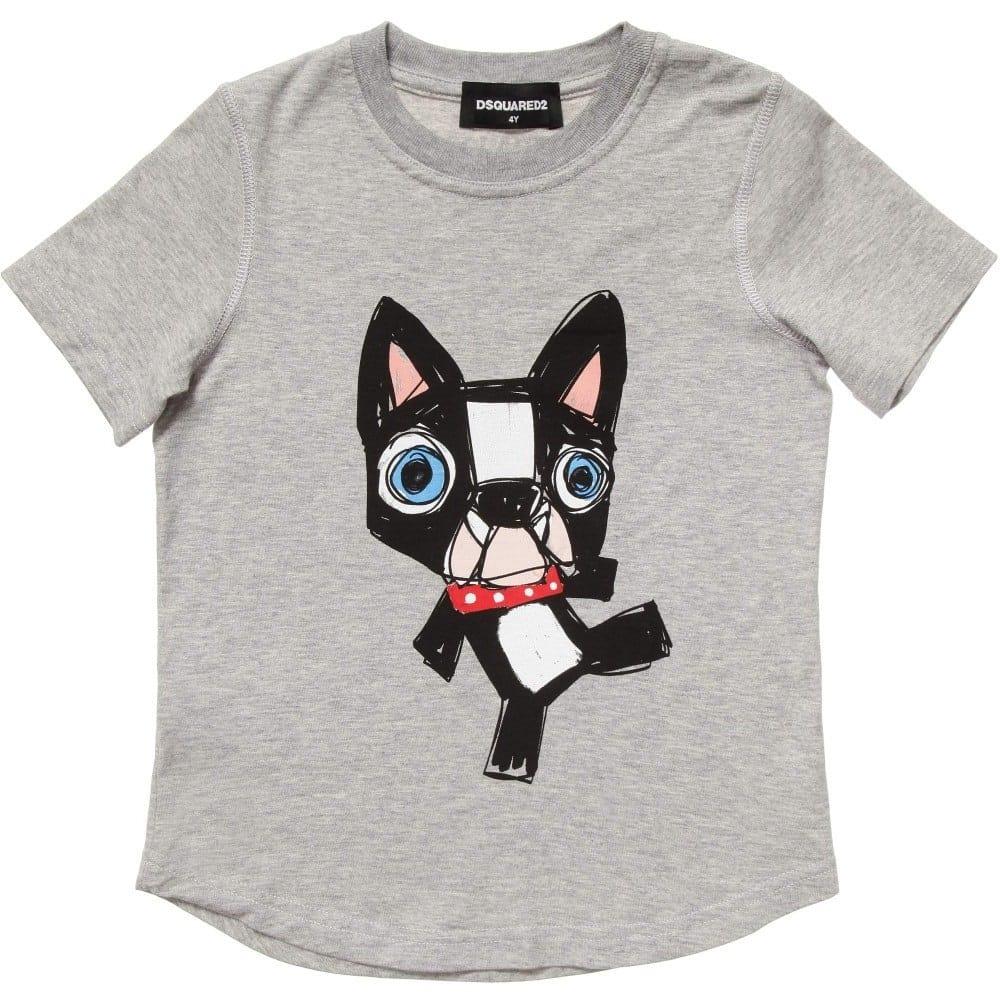 Dsquared2 Boys Grey Dog Print T Shirt Children Boutique