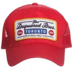 DSQUARED2 Boys Red Logo Baseball Cap 1
