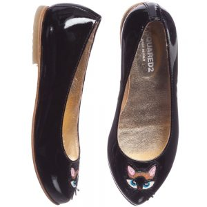 DSQUARED2 Girls Black Patent Leather Cat Shoes 1