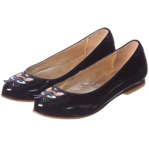 DSQUARED2 Girls Black Patent Leather Cat Shoes