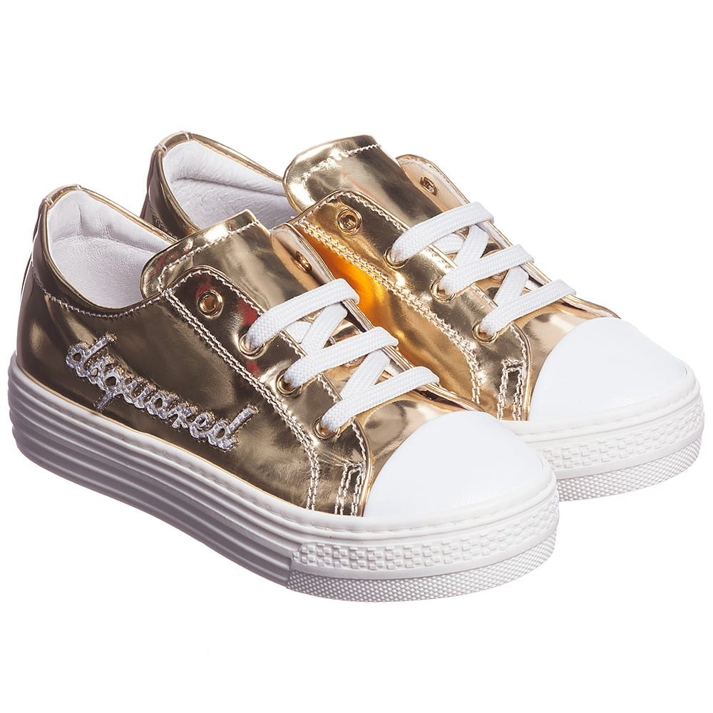 Dsquared2 Girls Gold Metallic Leather Trainers Children Boutique