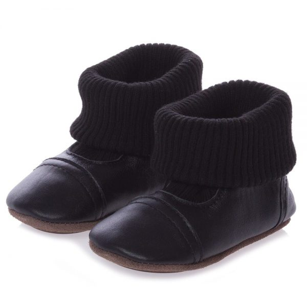 EN FANT Black First-Walker Leather Bootees 1