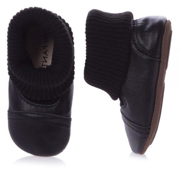 EN FANT Black First-Walker Leather Bootees 2