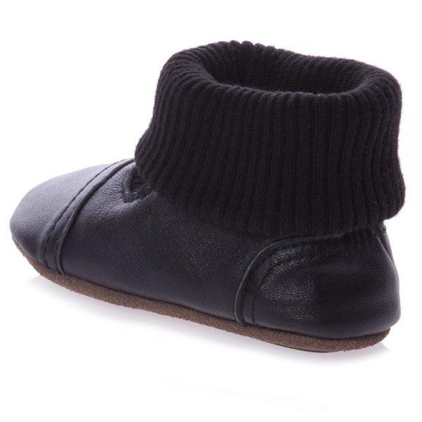 EN FANT Black First-Walker Leather Bootees 3