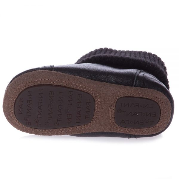 EN FANT Black First-Walker Leather Bootees 4