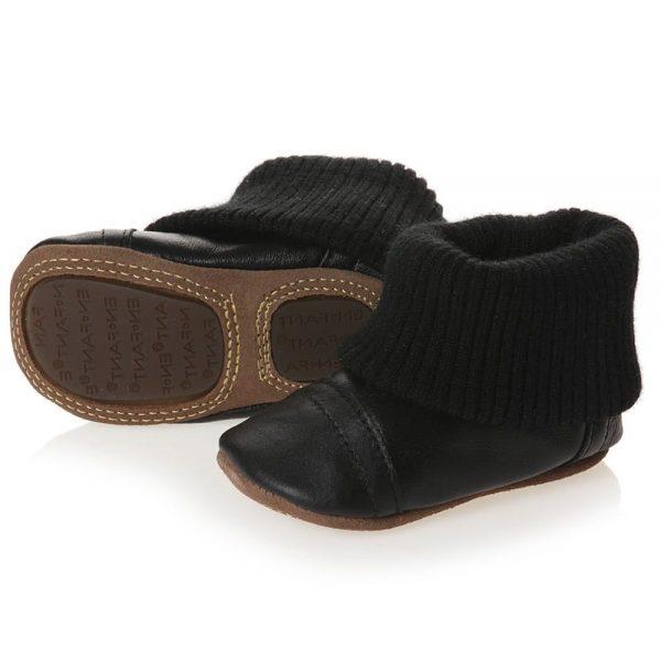 EN FANT Black First-Walker Leather Bootees